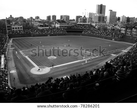 CHICAGO - APRIL 26: Historic Wrigley Field during a game pitting the Cubs against the Washington Nationals on April 26, 2010 in Chicago, Illinois. In black and white.