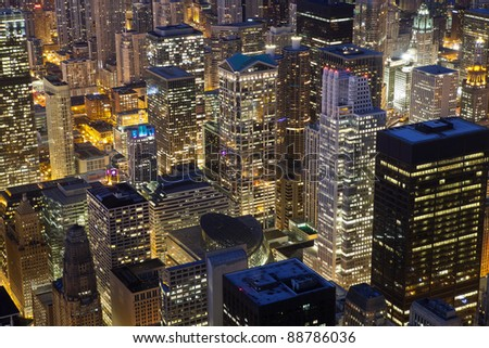 Chicago Architecture. Close up image of Chicago downtown buildings at night.