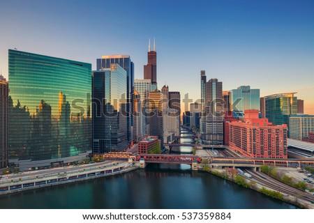 chicago at dawn. cityscape...