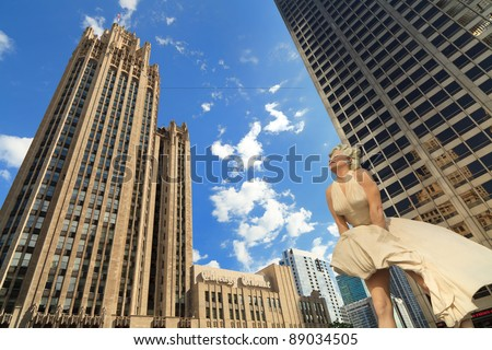 CHICAGO – AUGUST 21: The 26 foot tall sculpture of Marilyn Monroe's most famous pose by renowned artist Seward Johnson located on the Magnificent Mile on August 21, 2011 in downtown Chicago.