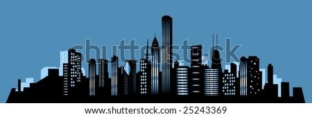 Chicago city at night - stock photo
