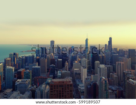 chicago city at sunset  ...