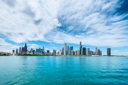 Chicago City Cityview Cityscape Lake shore Lake Michigan Panorama Illinois USA Skyline Skyscraper Architecture Urban