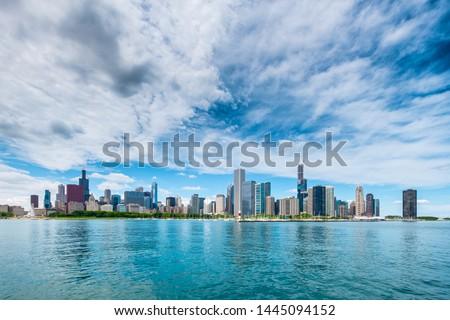 Chicago City Cityview Cityscape Lake shore Lake Michigan Panorama Illinois USA Skyline Skyscraper Architecture Urban #1445094152