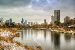 Chicago City skyline view from Lincoln Park ( HDR shot )