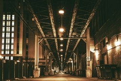 Chicago City Train Bridge in Downtown. Chicago After Dark. Sepia Color Grading Urban Theme.