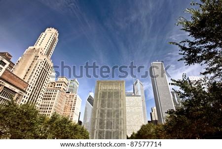 Chicago Cityscape downtown Millenium Park Michigan Avenue
