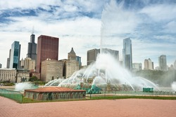 Chicago cityscape from the Clarence Buckingham Memorial Fountain in Illinois USA