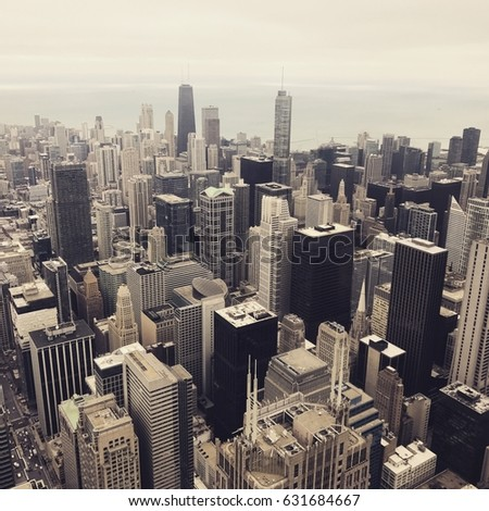 chicago cityscape on vintage...