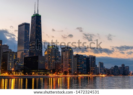 Chicago Cityscape river side at beautiful twilight time, Illinois, United States, USA, Business Architecture and building with tourist concept #1472324531