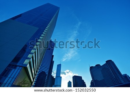 Chicago Cityscape - Skyline in Blue. Chicago, Illinois, USA. Architecture Collection.