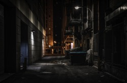 Chicago dark alley at night