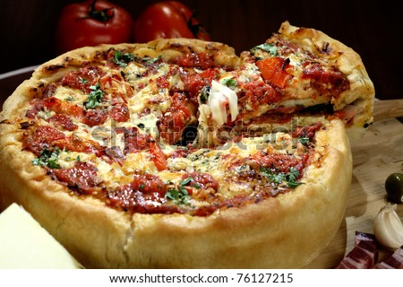 Chicago deep dish pizza arrange on the table
