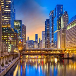 Chicago downtown and Chicago River at night  USA.