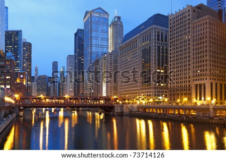 Chicago downtown at dusk