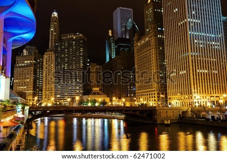 Chicago downtown at night.