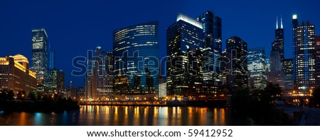 Chicago downtown night panorama.