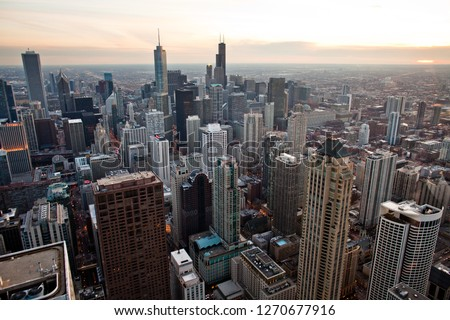 Chicago Downtown Skyline at Sunset #1270677916
