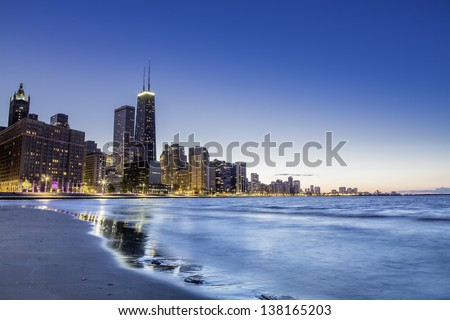 Chicago Downtown skyline by dusk #138165203