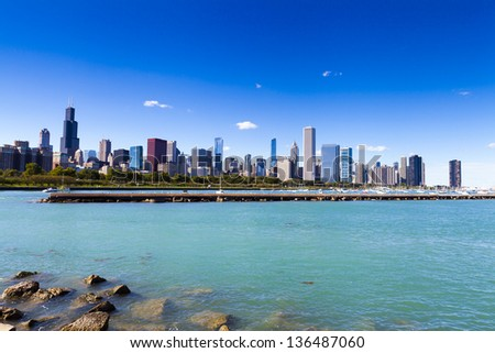 Chicago Downtown Skyline In Summer - stock photo