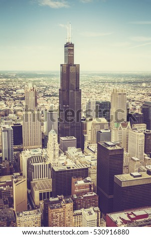 Stock Photo Chicago downtown skyscrapers aerial view