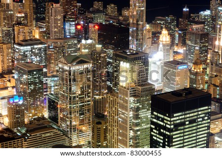 Chicago downtown skyscrapers at night. View from Willis Tower.