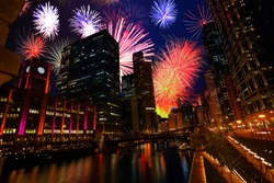 Chicago downtown with fireworks show at night