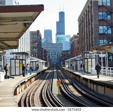 Chicago Elevated Train headed for the Loop