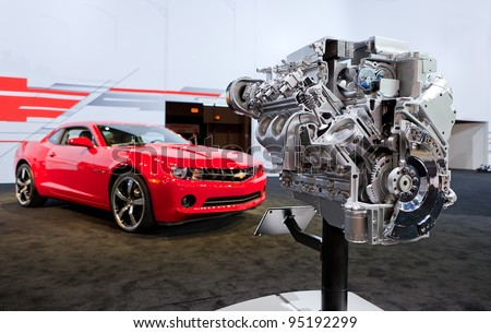 CHICAGO - FEB 9: A Chevy Camaro engine on display at the 2012 Chicago Auto Show Media Preview on February 9, 2012 in Chicago, Illinois.