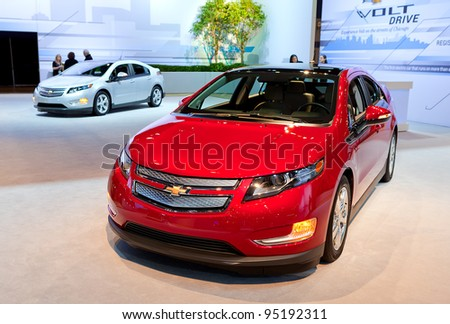 CHICAGO - FEB 9: A pair of Chevrolet Volts on display at the 2012 Chicago Auto Show Media Preview on February 9, 2012 in Chicago, Illinois.