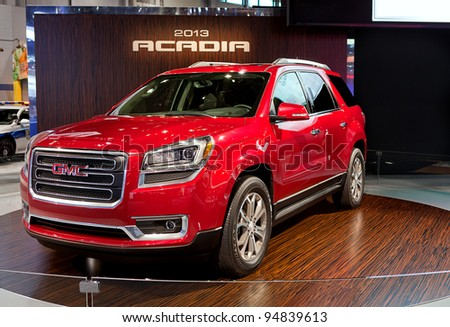 CHICAGO - FEB 9: 2013 GMC Acadia world premiere at the 2012 Chicago Auto Show Media Preview on February 9, 2012 in Chicago, Illinois.