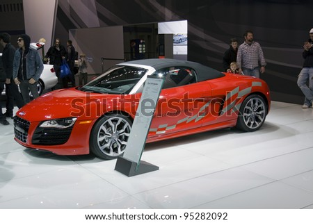 CHICAGO - FEB 12: The Audi R8 Spyder on display at the 2012 Chicago Auto Show on February 12, 2012 in Chicago, Illinois.