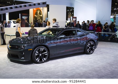 CHICAGO - FEB 12: The Chevrolet Camaro ZL1 on display at the 2012 Chicago Auto Show on February 12, 2012 in Chicago, Illinois. - stock photo