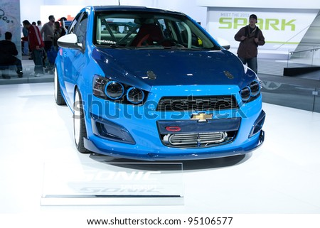 CHICAGO - FEB 12: The 2013 Chevrolet Sonic on display at the 2012 Chicago Auto Show. February 12, 2012 in Chicago, Illinois.