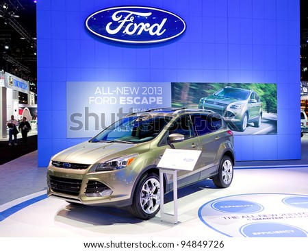 CHICAGO - FEB 9: The 2013 Ford Escape on display at the 2012 Chicago Auto Show Media Preview on February 9, 2012 in Chicago, Illinois.