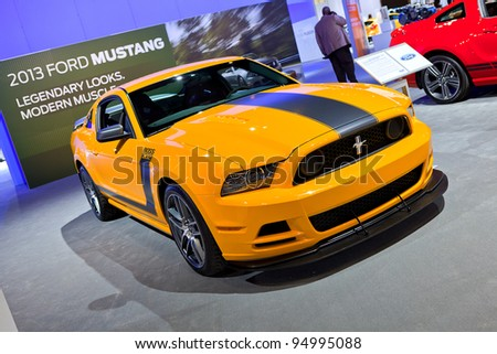 CHICAGO - FEB 8: The 2013 Ford Mustang Boss 302 Laguna Sec edition on display at the 2012 Chicago Auto Show Media Preview on February 8, 2012 in Chicago, Illinois..