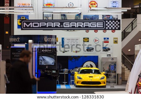 CHICAGO - FEBRUARY 8 : A Dodge Viper sits in the Mopar Garage at the Chicago Auto Show media preview February 8, 2013 in Chicago, Illinois. #128331830
