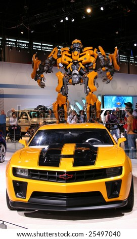 CHICAGO-FEBRUARY 18: From The Transformers 2 movie:BUMBLEBEE, the AUTOBOT based on Chevrolet Camaro concept:17 feet tall and 13 feet wide.Displayed at the Autoshow 2009 in Chicago