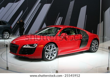 CHICAGO, FEBRUARY 18, 2009: The 2009 AUDI R8 is Incorporating the name and the genes of the five-time Le Mans winner; the first production Audi mid-engine sports car. Displayed at the Auto Show 2009 in Chicago.