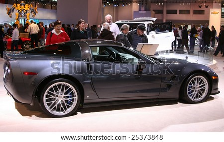 CHICAGO - FEBRUARY 18 :The 2009 Chevrolet Corvette ZR1 is  the fastest and most powerful car ever built by General Motors, displayed at the Auto Show 2009 in , Chicago, IL .February 18, 2009 - stock photo