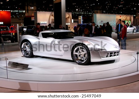 CHICAGO-FEBRUARY 18:the Chevrolet Sting Ray concept with futuristic vision plays the role of Sideswipe in the upcoming film Transformers II. Displayed at the Chicago Auto Show 2009 on Febraury 18, 2009