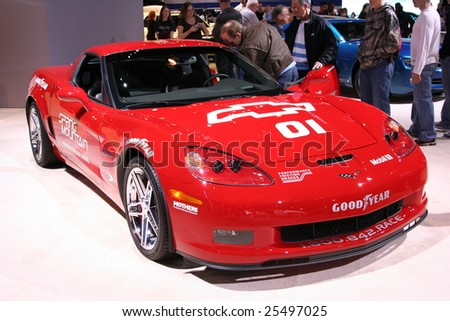 CHICAGO - FEBRUARY 18 : The 505-horsepower Corvette Z06 Coupe,,is the spotlight this year, displayed in the Auto Show on February 18, 2009 in Chicago, IL