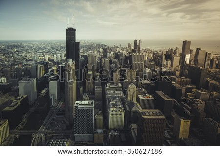 Chicago financial district- aerial view with desaturated colors stock photo