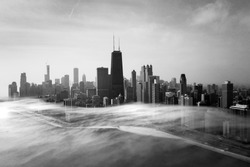 Chicago foggy aerial view black and white