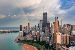 Chicago Gold Coast Rainbow cityscape aerial view