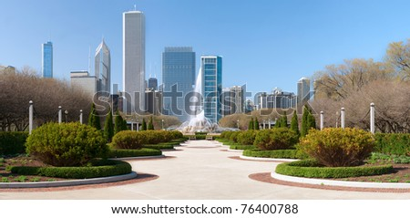 Chicago Grant Park with Buckingham fountain in the middle.