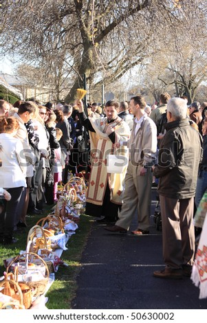CHICAGO, IL - APRIL 3: Orthodox blessing of food baskets at the church on easter april 3, 2010 in Chicago, IL