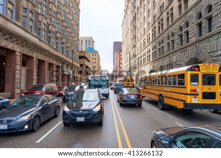 """CHICAGO, IL - CIRCA MARCH, 2016: streets of Chicago at daytime. Chicago, colloquially known as the """"Windy City"""", is the third most populous city in the USA, following New York City and Los Angeles #413266132"""
