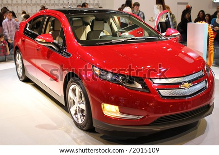 CHICAGO, IL - FEBRUARY 20: Chevrolet Volt model 2011 at the International auto-show on February 20, 2011 in Chicago, IL