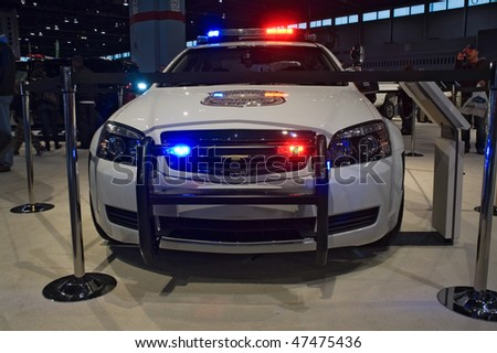 CHICAGO, IL - FEBRUARY 21: Chevy Police model 2010 at the International auto-show, February 21, 2010 in Chicago, IL - stock photo